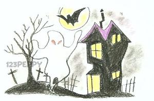 нарисовать пошагово дом с привидениями карандашом, рисунок  дома с привидениями, контурный рисунок,  цветной