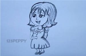 нарисовать пошагово девочку с цветком карандашом, рисунок  девочки с цветком, контурный рисунок,  черно-белый