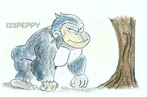 нарисовать пошагово гориллу карандашом, рисунок  гориллы, контурный рисунок,  цветной