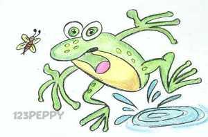 нарисовать пошагово зеленую лягушку с комаром карандашом, рисунок  зеленой лягушки с комаром, контурный рисунок,  цветной