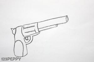 нарисовать пошагово пистолет карандашом, рисунок  пистолета, контурный рисунок,  черно- белый