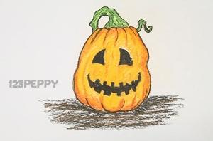нарисовать пошагово тыкву для Хэллоуина карандашом, рисунок  тыквы для Хэллоуина, контурный рисунок,  цветной