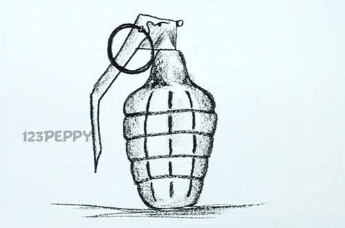 нарисовать пошагово гранату лимонку карандашом, рисунок  гранаты лимонки, контурный рисунок,  черно- белый