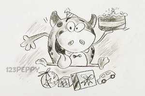 нарисовать пошагово веселого теленка карандашом, рисунок  веселого теленка, контурный рисунок,  черно- белый