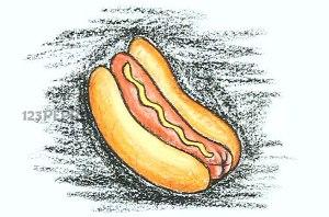 нарисовать пошагово хот дог карандашом, рисунок  хот дога, контурный рисунок,  цветной