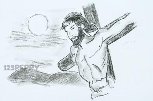 нарисовать пошагово распятого Христа карандашом, рисунок  распятого Христа, контурный рисунок,  черно-белый
