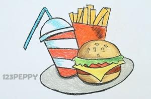 нарисовать пошагово еду из Макдональдса карандашом, рисунок  еды из Макдональдса, контурный рисунок,  цветной