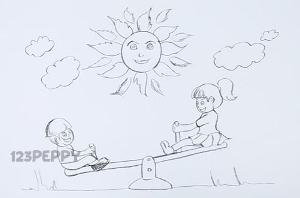 нарисовать пошагово качели карандашом, рисунок  качелей, контурный рисунок,  черно-белый
