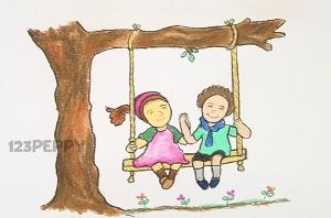 нарисовать пошагово детей на качелях карандашом, рисунок  , контурный рисунок,  цветной