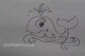 нарисовать пошагово кита карандашом, рисунок  кита, контурный рисунок,  черно-белый