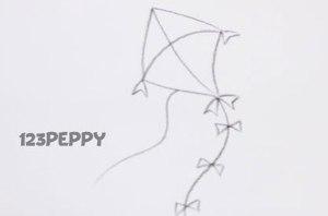 нарисовать пошагово воздушного змея карандашом, рисунок  воздушного змея, контурный рисунок,  черно-белый