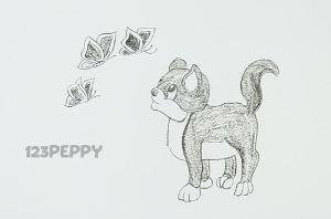 нарисовать пошагово котенка, играющего с бабочками карандашом, рисунок  котенка, играющего с бабочками, контурный рисунок,  черно- белый