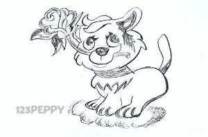нарисовать пошагово милого котенка с розой карандашом, рисунок  милого котенка с розой, контурный рисунок,  черно- белый