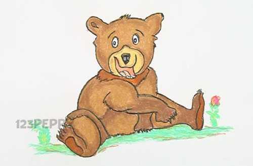 нарисовать пошагово медвежонка карандашом, рисунок  медвежонка, контурный рисунок,  цветной