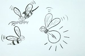нарисовать пошагово забавную пчелку ошибку карандашом, рисунок  забавной пчелки - ошибки, контурный рисунок,  черно - белый