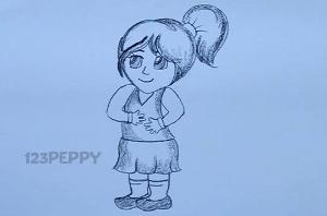 нарисовать пошагово маленькую девочку карандашом, рисунок  маленькой девочки, контурный рисунок,  черно-белый