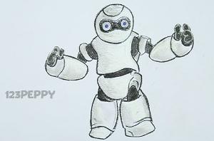 нарисовать пошагово робота карандашом, рисунок  робота, контурный рисунок,  черно - белый