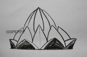 нарисовать пошагово лотос карандашом, рисунок  лотоса, контурный рисунок,  черно-белый