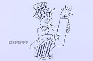 нарисовать пошагово фокусника карандашом, рисунок  фокусника, контурный рисунок,  черно-белый