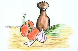 нарисовать пошагово чеснок с помидорами карандашом, рисунок  чеснока, помидор, контурный рисунок,  цветной