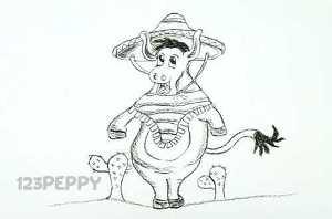 нарисовать пошагово мексиканского осла карандашом, рисунок  мексиканского осла, контурный рисунок,  черно- белый