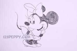 нарисовать пошагово Минни Маус карандашом, рисунок  Минни Маус, контурный рисунок,  черно-белый