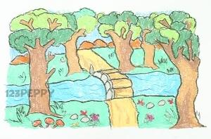 нарисовать пошагово лес карандашом, рисунок  леса, контурный рисунок,  цветной