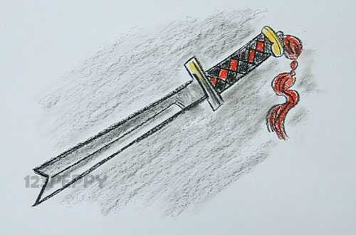 нарисовать пошагово меч ниндзя карандашом, рисунок  меча ниндзя, контурный рисунок,  цветной