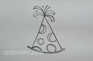 нарисовать пошагово праздничную шляпу карандашом, рисунок  праздничной шляпы, контурный рисунок,  черно- белый