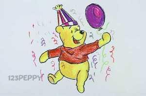 нарисовать пошагово Винни Пуха с шариком карандашом, рисунок  Винни Пуха с шариком, контурный рисунок,  цветной