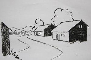 нарисовать пошагово улицу карандашом, рисунок  улицы, контурный рисунок,  черно-белый
