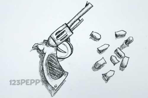 нарисовать пошагово пистолет с пулями карандашом, рисунок  пистолета с пулями, контурный рисунок,  черно- белый