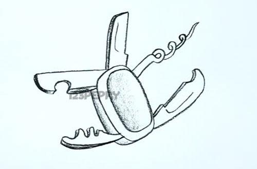 нарисовать пошагово многофункциональный нож карандашом, рисунок  многофункционального ножа, контурный рисунок,  черно - белый