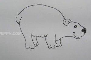 нарисовать пошагово забавного мишку карандашом, рисунок  забавного мишки, контурный рисунок,  черно- белый