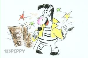нарисовать пошагово поющую зебру карандашом, рисунок  поющей зебры, контурный рисунок,  цветной