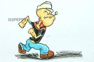 нарисовать пошагово морячка Папайя карандашом, рисунок  морячка Папайя, контурный рисунок,