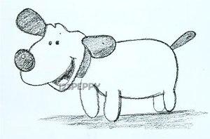 нарисовать пошагово милого щенка карандашом, рисунок  милого щенка, контурный рисунок,  черно-белый