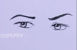 нарисовать пошагово глаза карандашом, рисунок  глаз, контурный рисунок,  черно - белый