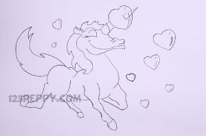 нарисовать пошагово романтичного единорога карандашом, рисунок  романтичного единорога, контурный рисунок,  черно-белый