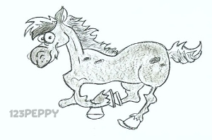 нарисовать пошагово скачущего коня карандашом, рисунок  лошади, контурный рисунок,  черно- белый