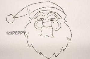 нарисовать пошагово деда мороза карандашом, рисунок  деда мороза, контурный рисунок,  черно- белый