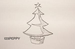 нарисовать пошагово новогоднюю елку со звездой карандашом, рисунок  новогодней елки со звездой, контурный рисунок,  черно- белый