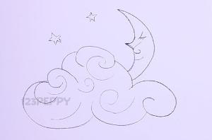 нарисовать пошагово месяц и облака карандашом, рисунок  месяца и облаков, контурный рисунок,  черно- белый