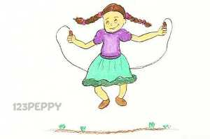 нарисовать пошагово девочку со скакалкой карандашом, рисунок  девочки со скакалкой, контурный рисунок,  цветной