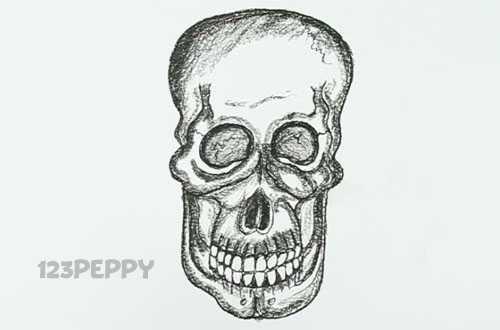 нарисовать пошагово страшный череп карандашом, рисунок  страшного черепа, контурный рисунок,  черно- белый вариант