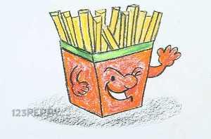 нарисовать пошагово картошку фри карандашом, рисунок  картошки фри, контурный рисунок,