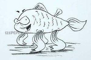 нарисовать пошагово коварную рыбку карандашом, рисунок  коварной рыбки, контурный рисунок,  черно-белый