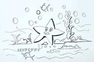 нарисовать пошагово красивую морскую звезду карандашом, рисунок  красивой морской звезды, контурный рисунок,  черно-белый