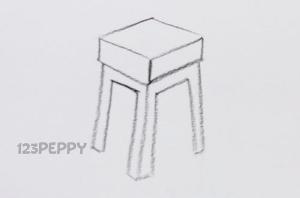 нарисовать пошагово тубаретку карандашом, рисунок  тубаретки, контурный рисунок,  черно-белый
