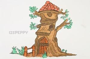 нарисовать пошагово дерево — дом карандашом, рисунок  дерева дома, контурный рисунок,  цветной